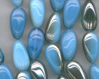 Six dazzling Czech glass beads - milky aqua with celsian finish - 22 x 12 mm