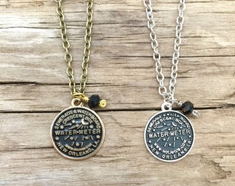 NOLA Watermeter Small Charm Necklace // New Orleans
