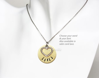 Mother's Day Gift, Custom Word Pendant, Personalized Gift, heart love charm pendant necklace, gift wrap, Gift for her, Under 25 30