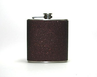 Chocolate Brown Sparkly Glitter 6 oz Size Stainless Steel Liquor Hip Flask Flasks Weddings Bridesmaids