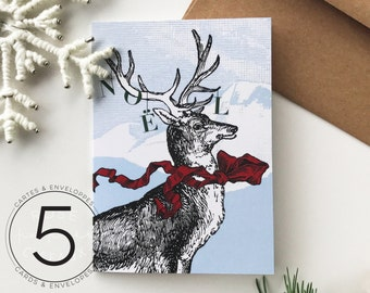 Set of 5 Christmas Cards Rudolph The Red Scarfed Reindeer - Christmas, Winter Wonderland, Winter Landscape, Mountain, Snow, Wood