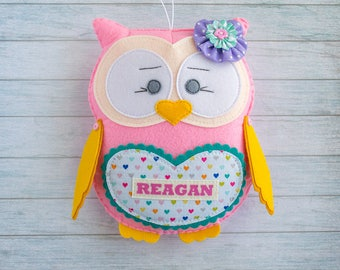 Nursery decor Girl room decor Felt owl Stuffed toy Owl decoration Owl party decor Baby shower gift Personalized gift Christmas present niece