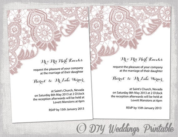 Wedding invitation template antique lace diy wedding invitation template antique lace diy wedding invitations dusky pink printable invites editable word template instant download stopboris Images