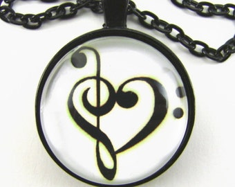 MUSIC HEART Necklace -- Musical harmony,  Treble & Bass Clefs united, Gift for music lovers, Dancing musical clefs