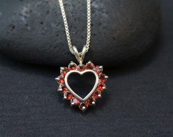 Valentine's Day Sterling Silver and Garnet Open Heart Necklace on 20 inch Sterling Silver Box Chain