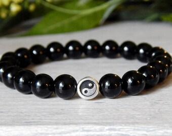Mens Bracelet, Yin Yang, Mens Black Bracelet, Black Onyx Bracelet, Mens Jewelry, Yin Yang Bracelet, Bracelets for Men, Onyx Bracelet, Mens