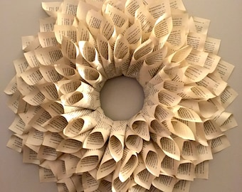 Homemade Book Page Wreath