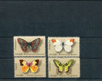 Butterfly Stamps /4 Unused Postage Stamps