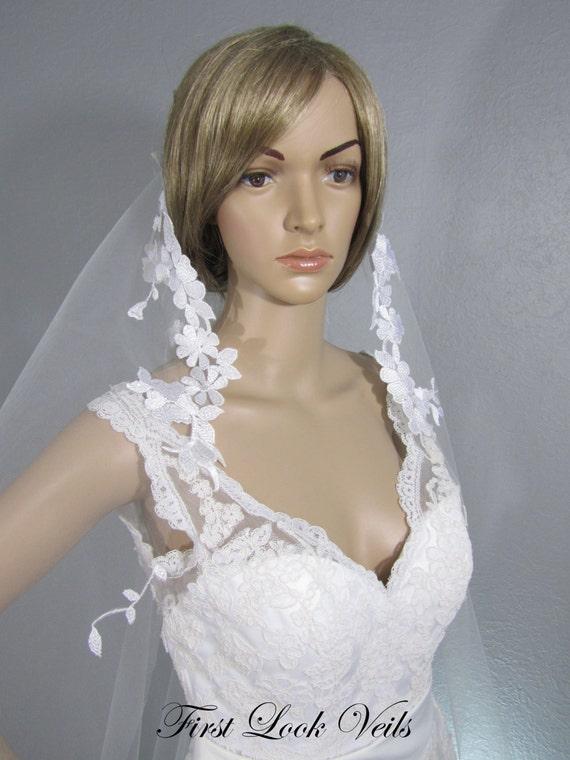 Wedding Veil, Bridal Veil, Mantilla, Cathedral Veil, Lace, Handmade, Bride, Gift