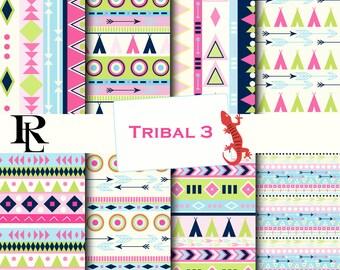 Tribal Digital Paper Pack - Digital Background - Paper background - Aztec paper pack - pink tribal paper scrapbooking
