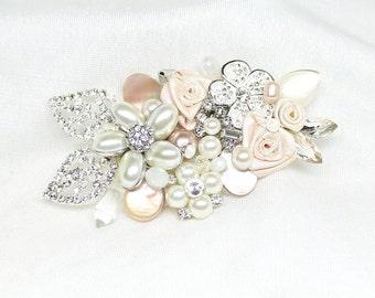 Blush Hair Accessories- Wedding Hairpiece- Blush Bridal Comb- Bridal Hairpiece- Pink Bridal Comb- Wedding Hair Comb- Brass Boheme