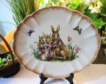 Vintage Bunny Platter with Tulips and butterflys