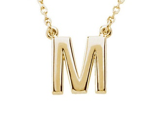 14k Gold Initial Necklace - white gold initial necklace - rose gold initial - solid 14k gold initial - gold initial pendant - silver