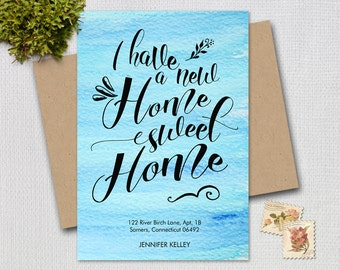 Moving Announcement /  Home Sweet Home / Typography Moving Announcement / Blue Watercolor  / PRINTABLE / 7202