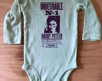 Harry Potter Undesirable No. 1 Baby Screen Print Bodysuit//Hand Dyed//Baby Shower Gift//Gender Neutral