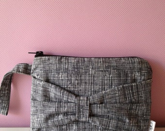 Fabric Wristlet Clutch Purse with a Bow