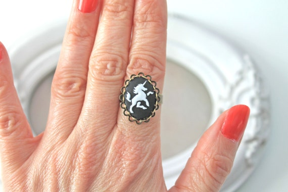 Small Unicorn ring in black and white cameo ring fairy kei lolita