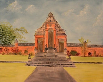 Balinese temple, original art, oil painting , canvas 24x30in