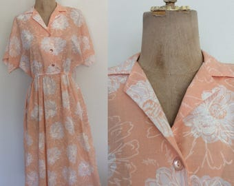 1980's Peach Floral Print Cotton Shirtwaist Dress Size XS Small by Maeberry Vintage