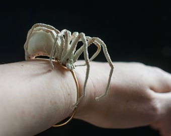 white spider bracelet, fiberart, soft sculpture,