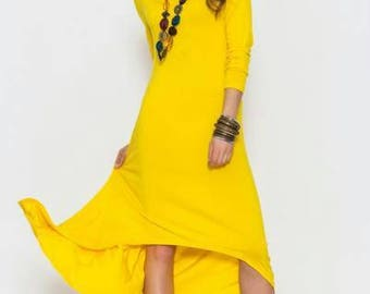 Yellow long dress Spring dress Summer asymmetric dress Fashion clothes for women New collection Boho dress Occasion dress Party dress
