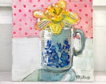 Golde Days Daffodil original mixed media acrylic still life painting by Polly Jones