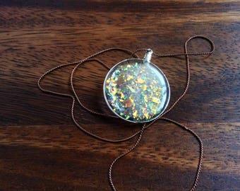 Handmade Circle shattered fire opal pendant