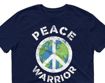 Peace Warrior Shirt,  Peace Sign World Peace Earth Short-Sleeve T-Shirt
