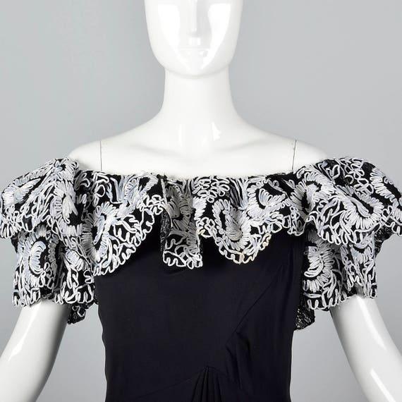 Full Trim Raffia Off Shoulder with Pencil Black Length Bob Mackie Dress 4Tvxt