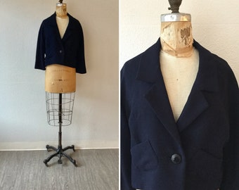 Daphne 50s jacket | Vintage navy cropped  suit jacket | 1950s three quarter sleeved blazer