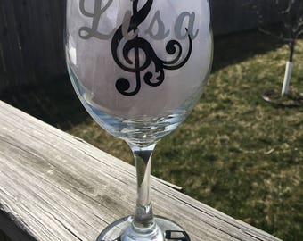 Personalized 20 oz Wine Glass-Music Notes