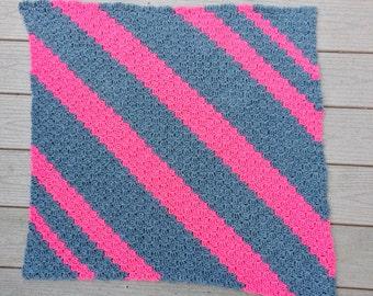 crochet baby blanket, custom baby blanket, crochet baby afghan, baby girl blanket, pink and gray, striped baby blanket, warm baby blanket
