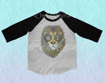Face lion shirt Hi tshirt Toddler tshirt /raglan shirt kids clothing for 12M/2T/ 4T/ 6-10 years