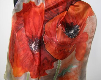 Orange poppies scarf. Hand painted scarf. Silk scarf. Feminine silk scarf. Floral scarf. Art scarf.