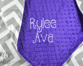 Personalized Blanket, Minky Blanket, Personalized Name Blanket, Purple Blanket, Grey Chevron Blanket, Choose Your Colors, Choose Your Size.