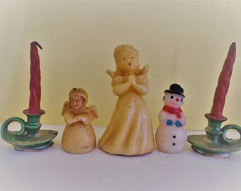 Five Vintage Christmas Candles, Two Angels, One Snowman, Two Gurley Chambersticks