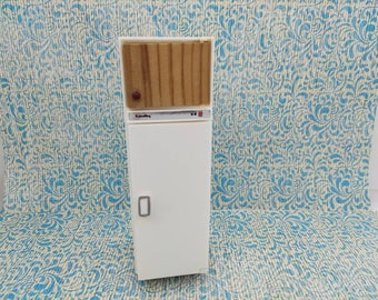 Lundby Fridge White and Wood Cupboard made in England Barton  Doll Furniture Kitchen MCM