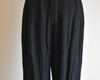 Women's Casual Black Vintage Rayon Pants | Size 8 Medium