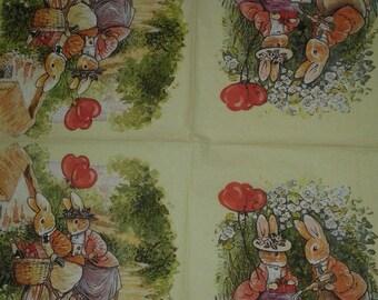 "Pretty NAPKIN pattern ""Bunnies in love"""