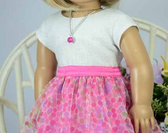 American Girl or 18 Inch Doll SKIRT  in Pink Multicolor Polka Dots with Silver Sparkle TEE Shirt Top Necklace  and SHOES Option