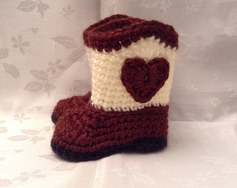 Baby Cowboy Booties Brown and Off white Crochet baby cowboy boots Cowgirl Booties Baby Girl Booties Infant Booties