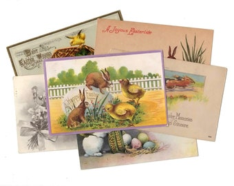 15 Early 1900s Vintage Easter Bunny Used Postcards - Easter Decor, Holiday Decor, Collage, Mixed Media, Scrapbooking, Paper Craft Supplies