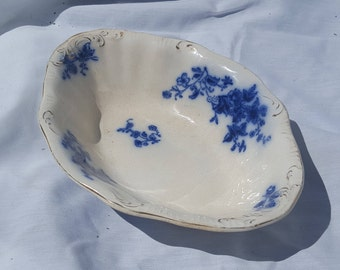 Antique W.H Grindley English Flow Blue Pottery Rose Pattern Oval Vegetable Dish
