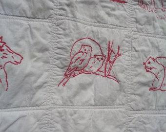 antique vintage pictorial crib Berks Pennsylvania quilt textiles folk art 1800's linens