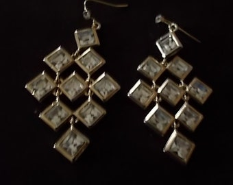 333.  Lovely Gold Tone and Rhinestone Ear Wire Earrings