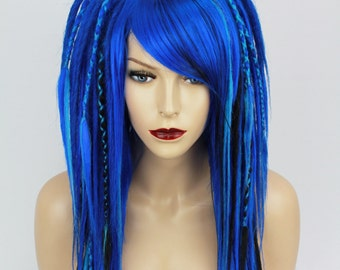 Blue & Black Full Synthetic Dreads Wig.