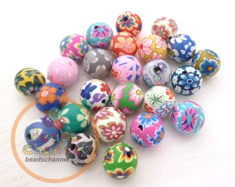 80PCS 10MM Round Polymer Clay Beads, Fimo Beads, Mixed Round Beads with Flowers