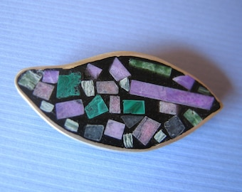 Brooch/ Pendant in Sterling Silver and Inlaid Stone