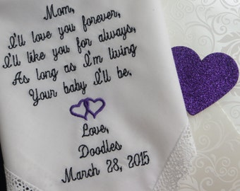 Embroidered Elegant Wedding Handkerchief. Mother's Personalized Wedding Handkerchief. Free Gift Box With Each One That You Order.