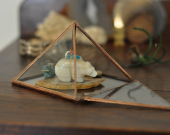 Pyramid Display Box - large glass pyramid - jewelry box - hinged - silver or copper - eco friendly